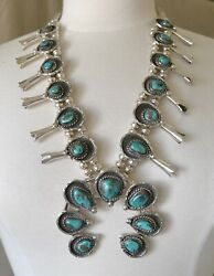 Vintage Native American Navajo Silver Turquoise Squash Blossom Necklace 284g