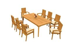A-grade Teak 9pc Dining 83 Rectangle Table 8 Goa Stackng Arm Chairs Set Outdoor
