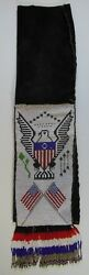 Sioux Style Beaded Pipe Tobacco Bag Pouch Pictorial Eagle Flags Native American