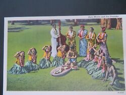 Linen Post Card Hula Maids And Poi Pounder