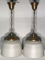 30andrdquo Antique Brass Pendant Lights With 13andrdquo Wide Globes Rewired Nice