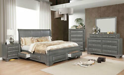 Transitional Design Gray Finish 5 piece Bedroom Set - King Size Storage Bed ICAO