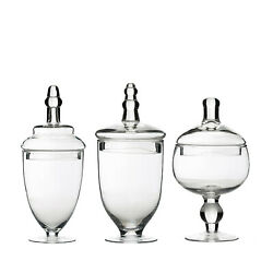 3 Clear Glass Apothecary Jars Containers With Lids Dessert Party Decorations