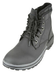 London Fog Men's Saul Leather Lace Up Water Resistant Winter Boots, Black