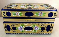 Antique Cobalt Glass Box Gold Encrusted Hand Painted Enameled Beads And Roses
