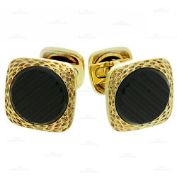 Authentic 1970s And Black Onyx 18k Yellow Gold Cufflinks