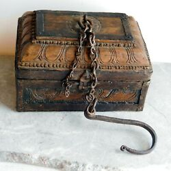 Antique Primitive Indian Carved Wood Money Box - Wrought Iron Trim, Chain, Hook