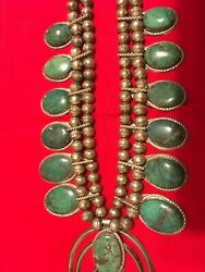 Native American Sterling Silver Green Turquoise Squash Blossom Necklace