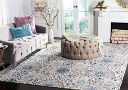 Rectangle Area Rug 4and039 X 4and039 Bohemian Transitional Cream Light Grey Easy Care New