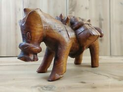 Antique Hand Carved Wooden Donkey Toy Figure Primitive Country Side Folk Art
