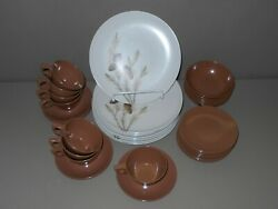 Texas Ware Pine Cones Dinner Plates G-3 Melamine Melmac Brown Cups Saucers Bowls