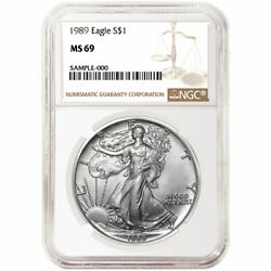 1989 1 American Silver Eagle Ngc Ms69 Brown Label