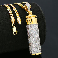 14k Gold Plated Fully Cz Cylinder Stash Container Pendant 30 Cuban Chain Hiphop
