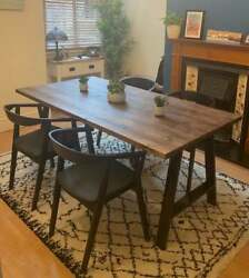 Wooden Rustic Dining Table With Industrial Steel A-frame Legs