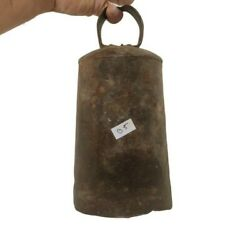 Large 9.75 High Primitive Old Antique Camel / Ox Iron Bell Pleasant Sound B5