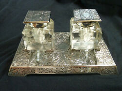 And Co Sterling Silver Art Nouveau Double Inkwell And Pen Tray Stand