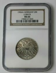 1906a Germany Silver 2 Mark Lubeck Ngc Ms 66 69273jr