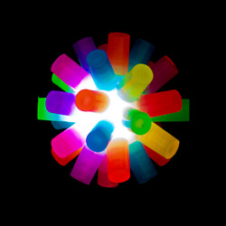 Lumistick Multi-color Glowing Balls Toy 3 Inch Light-up Rainbow Ball Lot