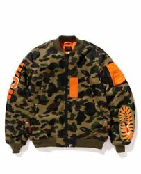 A Bathing Ape Bape X Porter Collab Bomber Jacket With Side Pack Green Camo M