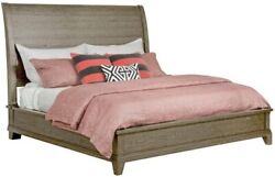 Woodburn Low Profile King Sleigh Bed In Light Stone Finish - Solid Wood