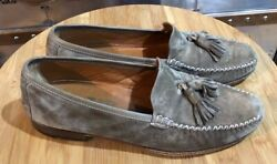 Salvatore Ferragamo Suede Tassel Loafers Made In Italy Us 8d Olive Green Ur13847
