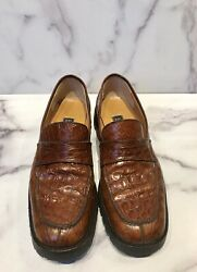 Barneys New York Brown Crocodile Menandrsquos Loafers Shoes