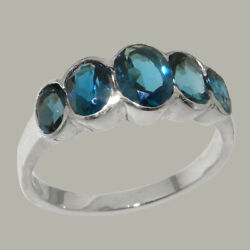 Solid 18k White Gold Natural London Blue Topaz Womens Band Ring - Sizes J To Z