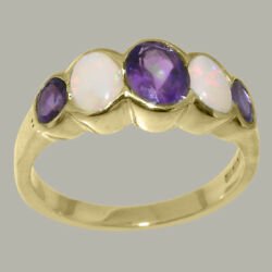 Solid 14k Yellow Gold Natural Amethyst And Opal Womens Band Ring - Sizes J To Z