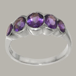Solid 18k White Gold Natural Amethyst Womens Band Ring - Sizes J To Z