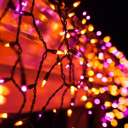 Purple Orange Halloween Net Icicle Party Lights Black Wire Holiday String Lights