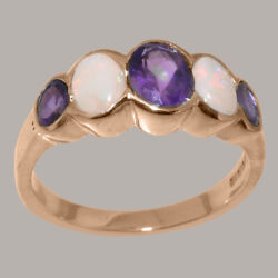 Solid 14k Rose Gold Natural Amethyst And Opal Womens Band Ring - Sizes J To Z