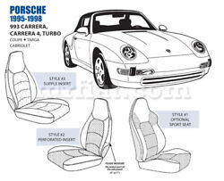For Porsche 993 Carrera 4 Turbo 7in Bolster Front Leather Seat Cover Set 95-98