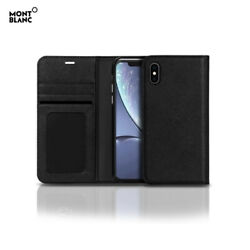 Genuine Montblanc Italian Calf Skin Leather Flip Wallet Cover Case for iPhone XR