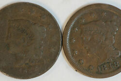1832 Ag And 1848 Vf Liberty Coronet Or Matron Head Large Cent Coins Num4167