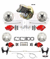 1970-74 Camaro Red Wilwood Caliper Front And Rear Disc Conversion W/ Power Brakes