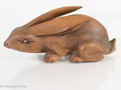 Antique Japanese Hare Carving, Large Wood Rabbit W/ Glass Eye, Unsigned, Nice