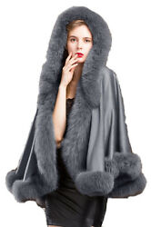 Real Cashmere Poncho Coat Real Fox Fur Trim All Round Cape With Hood Party Grey