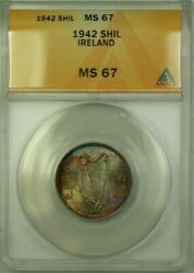 1942 Ireland 1 Scilling Coin ANACS MS-67
