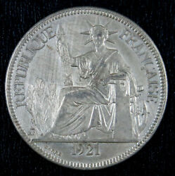 French Indochina 1921 Piastre Km 5a.2 Without Mint Mark.