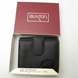 New Buxton Women's Billfold Wallet  Coin purse No. 39348 Black genuine Leather