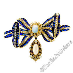Antique 18K Gold Cabochon Opal w Diamond & Blue Enamel Large Ribbon Bow Brooch