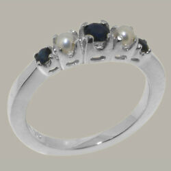 Solid 18k White Gold Natural Sapphire And Full Pearl Womens Band Ring
