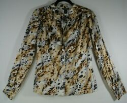 Nwt St. John Collection Silk Tie Neck Button Down Blouse In Caviar - Size 4 T65