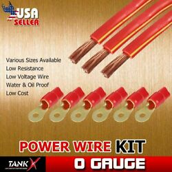 3pcs 10 Feet 0 AWG Electric Power Wire Copper Clad Send 6 Set Terminals Red Coil