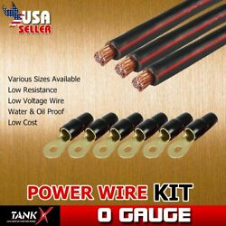 1/0 AWG 10ft Electric Power Wire 3pcs & 6 Set Terminals Vehicle Power Cable Kit