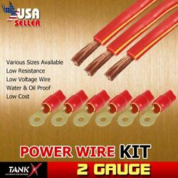 2 Ga AMP Power Cable Red Ring Terminal Set & Ture AWG 3pcs 5ft Wire for Bow Auto