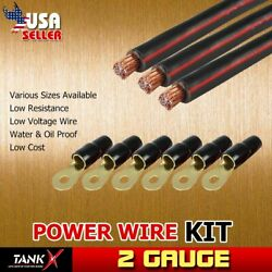 3pcs 6ft Hyper Flex Power Wire Black 2 AWG With Terminal Sets Pickup Yacht Coil