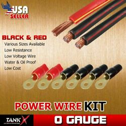 3pcs 10ft Vehicle Power Wire Kit Terminals Wiring Black Red for RV Vehicle Yacht