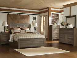 Cottage Brown 5pcs Bedroom Queen Bed Frame Dresser Mirror Nightstands Set IA07