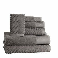 Casa Lino - Chevron Premium 6 Piece Towel Set 2 Bath Towels 2 Hand Towels 2 W...